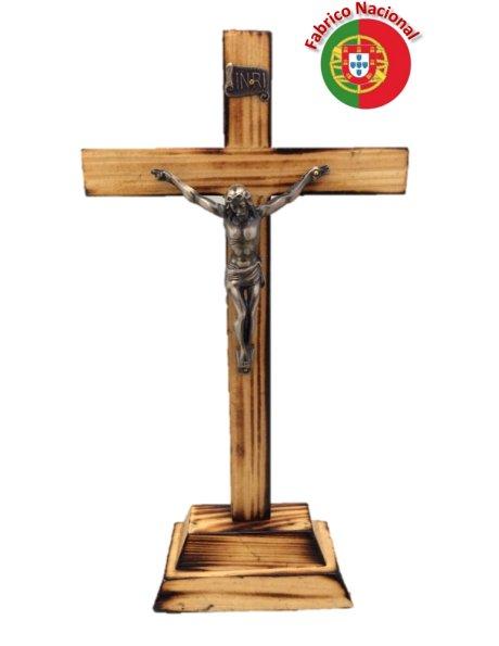 100 - Croix em Bois Pin Brûlé 25cm a/Christ en Métal et Base