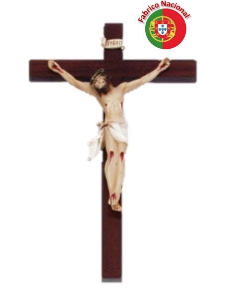 555 - Crucifixo em Madeira 35,50x23cm c/Cristo em Resina