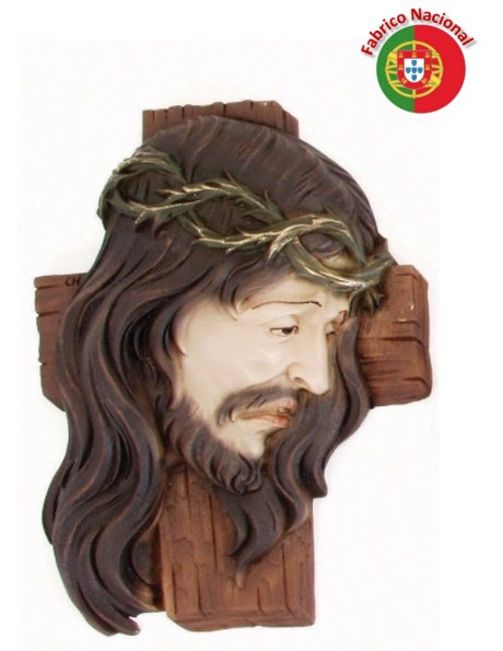 417 - Wall Christ Face on the Cross 28x20,50cm in Resine