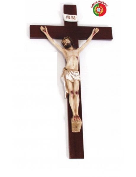 168 - Crucifixo em Madeira 68x37cm c/Cristo em Resina
