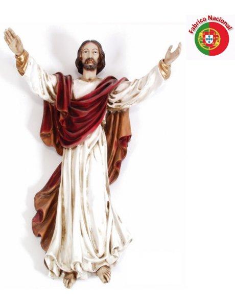 645 BORDEAUX - Wall Risen Christ 54x40cm in Resine