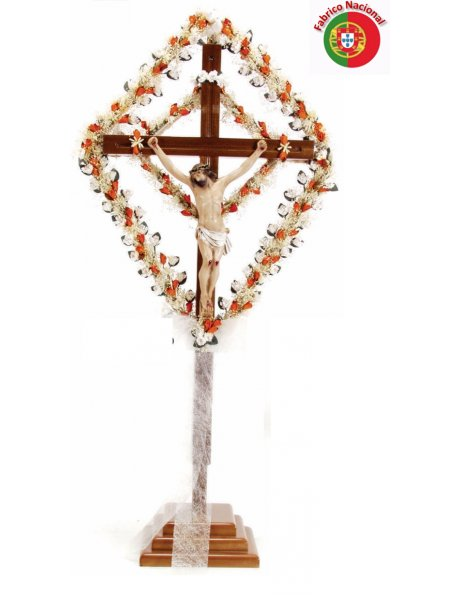 678 -  Wood Crucifix  w/Base 88x44cm and Christ in Resine