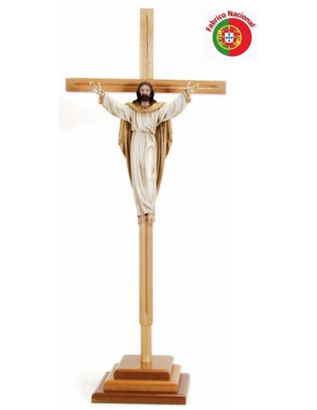 739 -  Wood Crucifix  w/Base 83,50x34cm and Christ in Resine