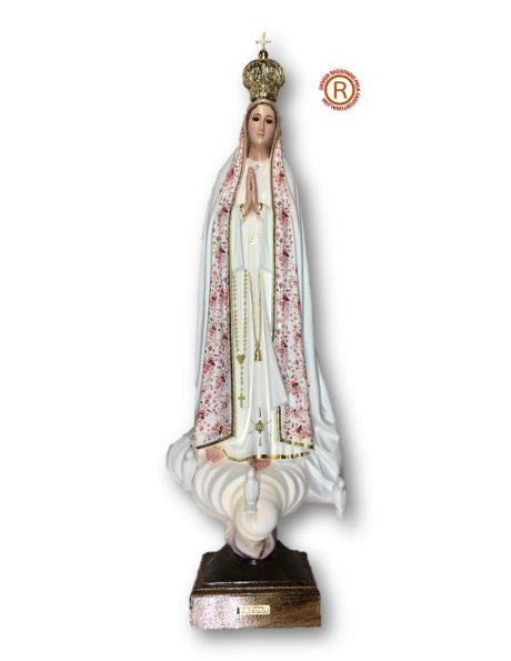 Our Lady of Fátima w/Flowered Design 70cm with Crystal eyes