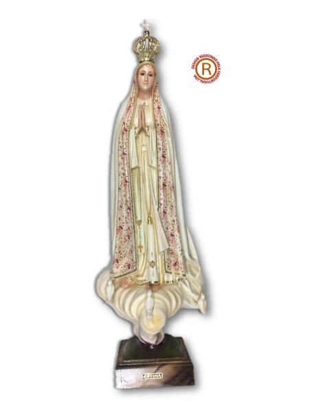 Our Lady of Fátima w/Flowered Design and Old Painting 70cm with Crystal eyes