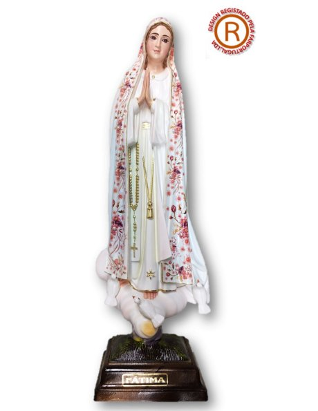 Our Lady of Fátima W/Flowered Design 35cm with Crystal eyes