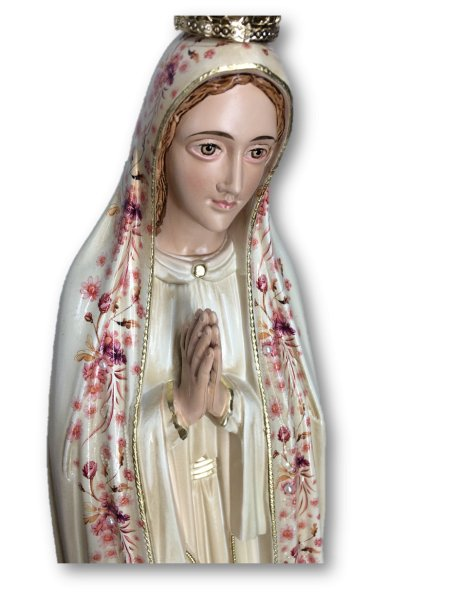 Our Lady of Fátima w/Flowered Design and Old Painting 55cm with Painted Eyes