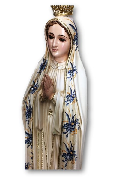 Our Lady of Fátima w/Flowered Design and Old Painting 44cm with Crystal Eyes