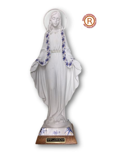 Vierge Miraculeuse Blanche a/Design Fleurie 29cm