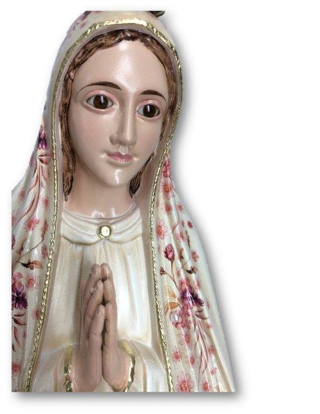 1036/VF - N. D. de Fatima a/Design Fleurie et Peinture Vieilli 55cm avec Yeux en Cristal