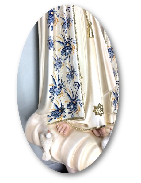 1036/VF - Our Lady of Fátima w/Flowered Design and Old Painting 55cm with Crystal Eyes