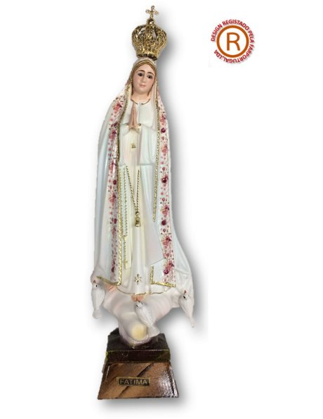 1033/F - Our Lady of Fátima W/Flowered Design 21cm with Crystal eyes