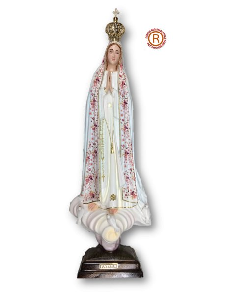 1042/F - Our Lady of Fátima w/Flowered Design 55cm with Painted Eyes
