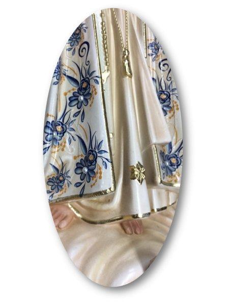 1041/VF - N. D. de Fatima a/Design Fleurie et Peinture Vieilli 44cm avec Yeux en Peint
