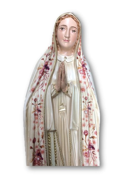 1041/VF - Our Lady of Fátima w/Flowered Design and Old Painting 44cm with Painted Eyes