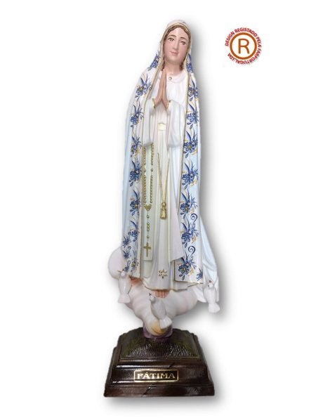 1040/F - Our Lady of Fátima w/Flowered Design 35cm with Painted Eyes