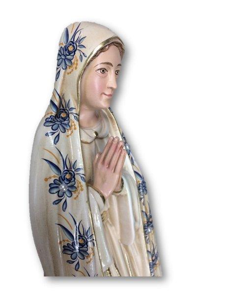 1040/VF - N. D. de Fatima a/Design Fleurie et Peinture Vieilli 35cm avec Yeux en Peint