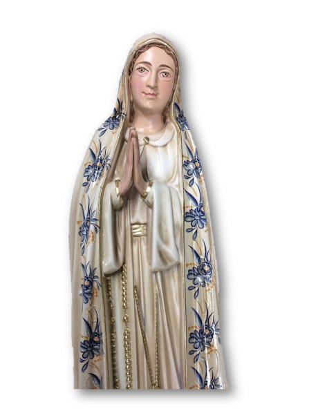 1040/VF - Our Lady of Fátima w/Flowered Design and Old Painting 35cm with Painted Eyes