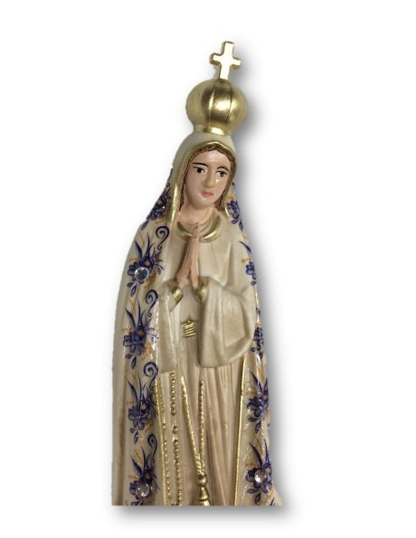 1012/VF - Our Lady of Fátima w/Flowered Design and Old Painting 17cm with Painted Eyes