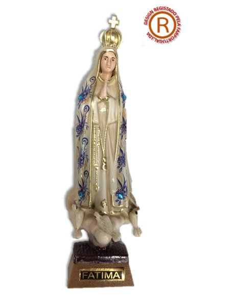 1011/VF - N. D. de Fatima a/Design Fleurie et Peinture Vieilli 11cm avec Yeux en Peint