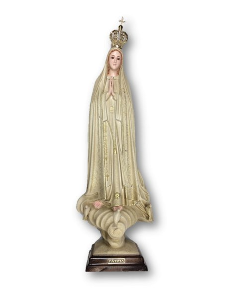 1036/GD - Our Lady of Fátima Golden Granited 55cm with Crystal eyes