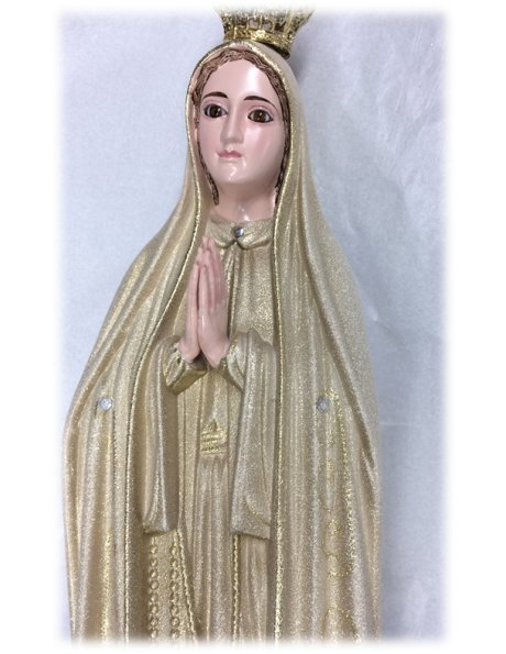 1035/GD - Our Lady of Fátima Golden Granited 44cm with Crystal eyes