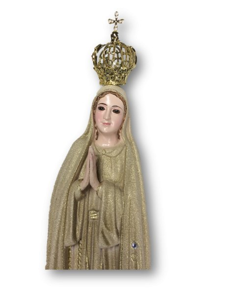 1023/GD - Our Lady of Fátima Golden Granited 35cm with Crystal eyes