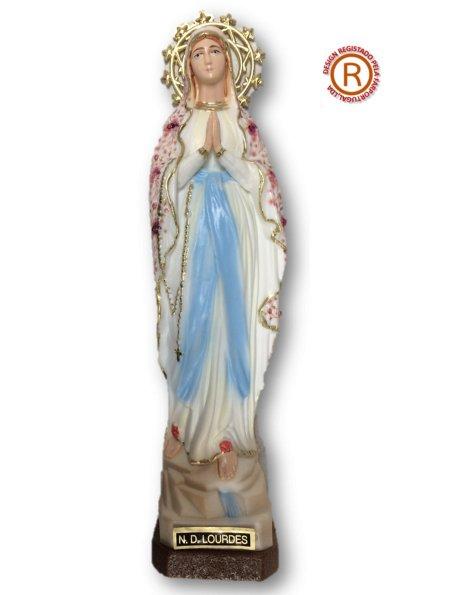 1188/F - N. D. de Lourdes a/Design Fleurie 18cm avec Yeux en Peint