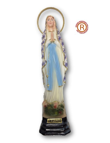1191/F - Our Lady of Lourdes w/Flowered Design 23cm