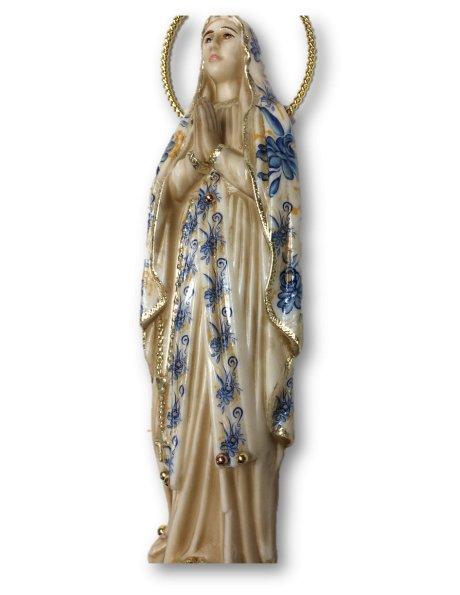 1191/VF - Imagem Nª Srª de Lourdes c/Design Florido e pintura Envelhecida 23cm