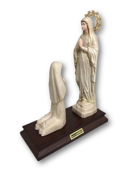 1185/GD - Apparition of Our Lady of Lourdes Golden Granited 18cm with Painted eyes