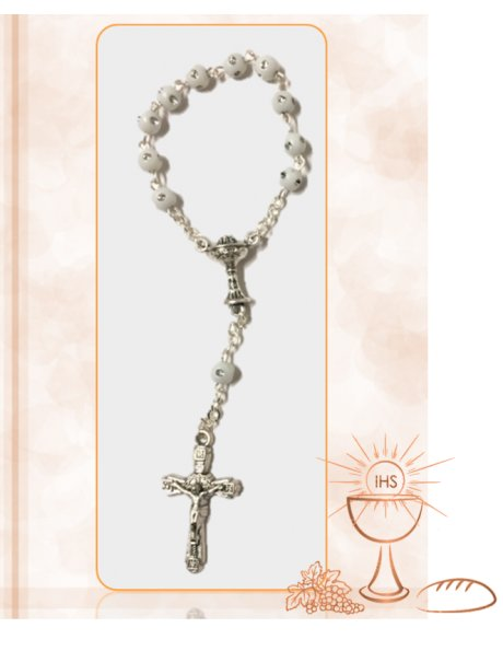 913701/C - Small Communion Rosary 4mm w/Cream  Shiny Stones