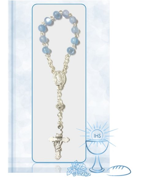 F91624/1AC - Small Communion Rosary 5mm w/Blue Nacre Beads