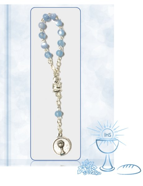91624/1AAC - Small Communion Rosary 5mm w/Blue Nacre Beads w/Angel