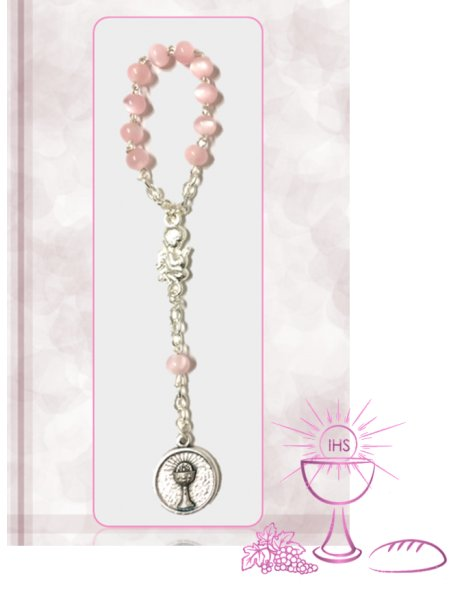 91624/1RAC - Small Communion Rosary 5mm w/Pink Nacre Beads w/Angel
