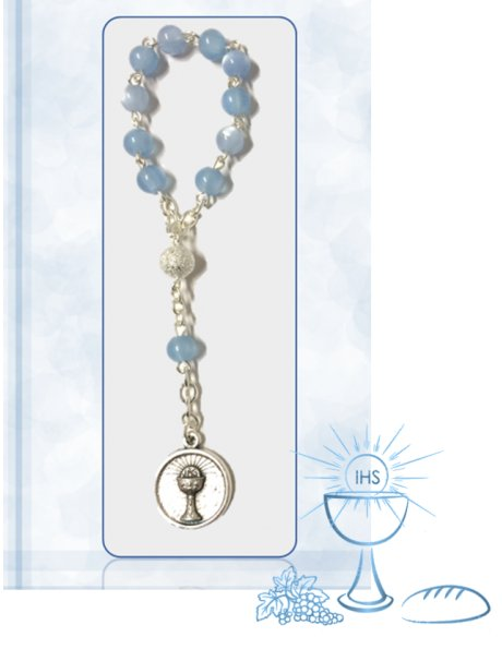 91624/1AC - Small Communion Rosary 5mm w/Blue Nacre Beads
