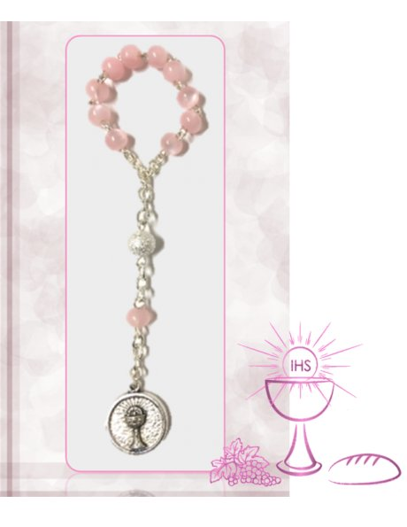 91624/1RC - Small Communion Rosary 5mm w/Pink Nacre Beads