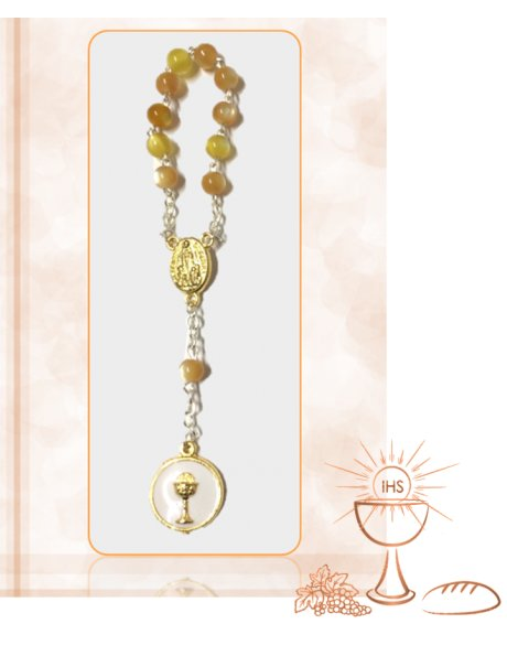 91624/1DC - Small Communion Golden Rosary 5mm w/Honey Nacre Beads