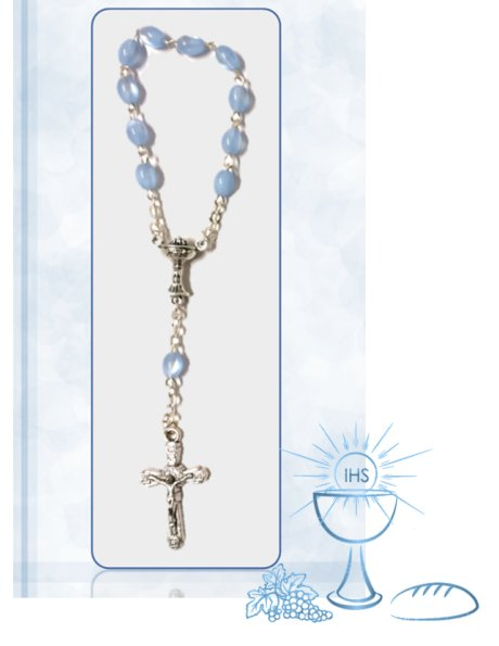 91526/C - Small Oval Communion Rosary 6x5mm w/Blue Nacre Beads