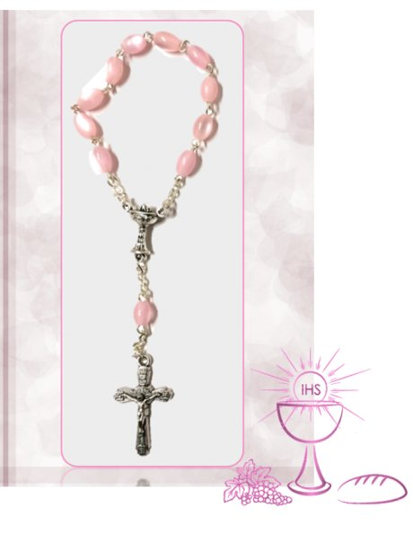 91542/C - Small Oval Communion Rosary 6x5mm w/Pink Nacre Beads