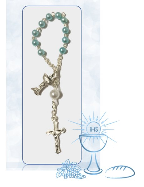 2692/D1/C - Small Communion Rosary 4mm w/Blue Beads and Chalice Center