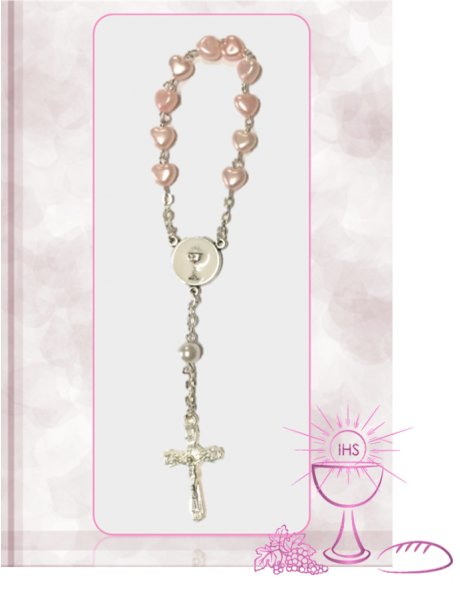 F91637/C/R - Small Communion Heart Rosary 6mm w/Pink Beads