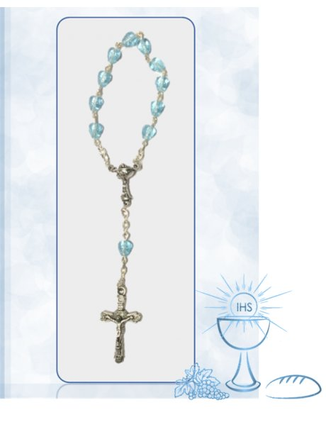 91762/C/A - Small Communion Heart Rosary 6mm w/Clear Blue Beads
