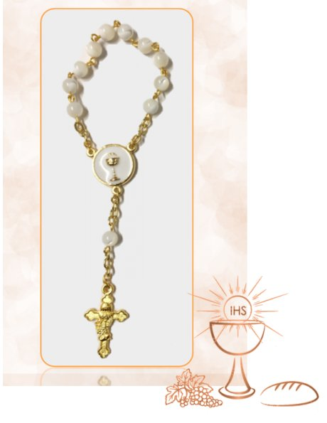 91527/DC - Small Golden Communion Rosary 5mm w/Mother Pearl Beads