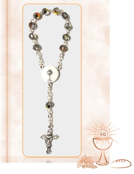 97363/6C - Small Crystal Communion Rosary 5mm Grey 1/2 AB