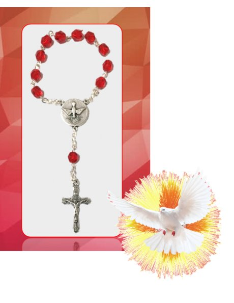 91651/C - Small Red Faceted Glass Confirmation Rosary 6mm