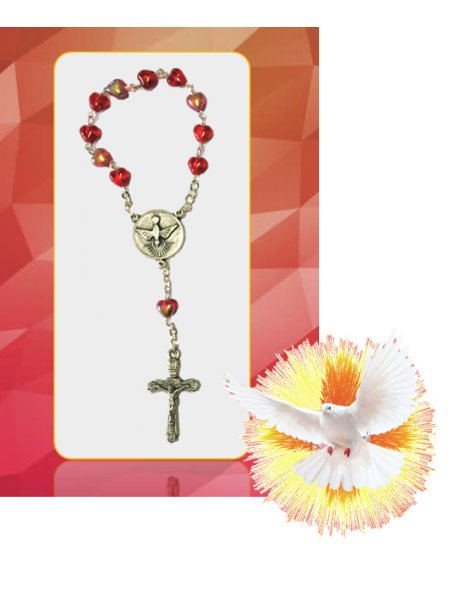 91728/4C - Small  Confirmation Rosary 6mm with 1/2AB Red Heart Glass Beads
