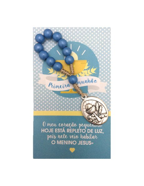 91880/1C/A - Small Wood Communion Rosary 8mm Blue