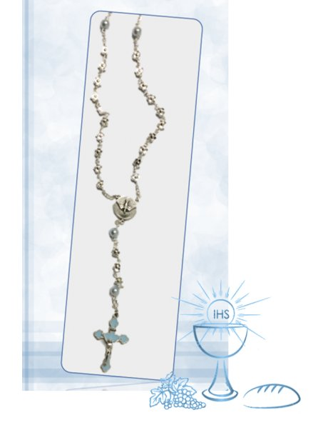 5670/AC - Communion Rosary 5mm w/Flower Beads and Blue Our Father