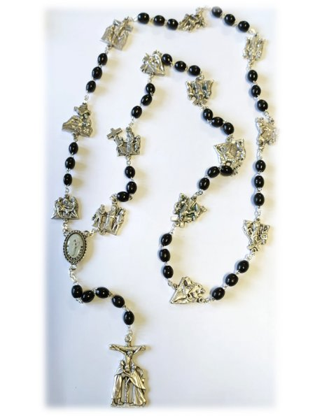 4839 - BLACK WOOD WAY OF CROSS ROSARY 6X5MM